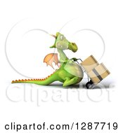 Clipart Of A 3d Green Dragon Facing Right And Moving Boxes On A Dolly Royalty Free Illustration