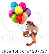 Clipart Of A 3d Red Dragon Holding Colorful Party Balloons Around A Sign Royalty Free Illustration