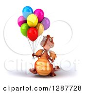 Clipart Of A 3d Red Dragon Walking With Colorful Party Balloons Royalty Free Illustration