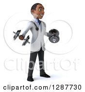 3d Young Black Male Doctor Facing Slightly Right And Working Out With Dumbbells