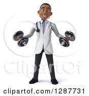 3d Young Black Male Doctor Working Out With Dumbbells