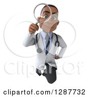 3d Young Black Male Doctor Flying And Looking Through A Magnifying Glass