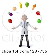 Clipart Of A 3d Young Black Male Nutritionist Doctor Juggling Produce Royalty Free Illustration by Julos