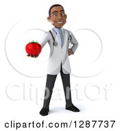 3d Young Black Male Nutritionist Doctor Holding A Tomato