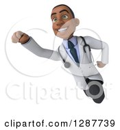 3d Young Black Male Doctor Flying Slightly Left