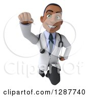 3d Young Black Male Doctor Flying