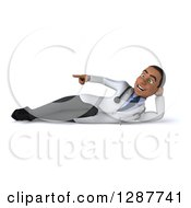 3d Young Black Male Doctor Resting On His Side And Pointing