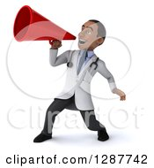 3d Young Black Male Doctor Announcing With A Megaphone