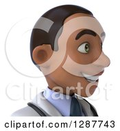 Clipart Of A 3d Avatar Of A Young Black Male Doctor Facing Right Royalty Free Illustration