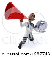 3d Young Black Male Doctor Holding An Email Arobase Symbol And Announcing With A Megaphone