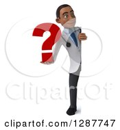 3d Full Length Young Black Male Doctor Holding A Question Mark Around A Sign