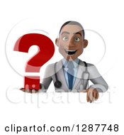 3d Young Black Male Doctor Holding A Question Mark Over A Sign