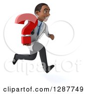 3d Young Black Male Doctor Running To The Right And Holding A Question Mark