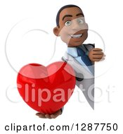 3d Young Black Male Doctor Holding A Love Heart Around A Sign