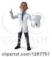 3d Young Black Male Doctor Holding Up A Finger And A Tooth
