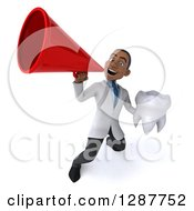 3d Young Black Male Doctor Announcing With A Megaphone And Holding A Tooth