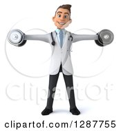 Clipart Of A 3d Young Brunette White Male Doctor Doing Lateral Raises With Dumbbells Royalty Free Illustration