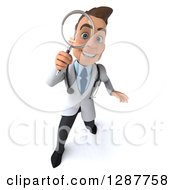 Clipart Of A 3d Young Brunette White Male Doctor Looking Up Through A Magnifying Glass Royalty Free Illustration