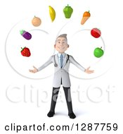 Clipart Of A 3d Young Brunette White Male Nutritionist Doctor Juggling Produce Royalty Free Illustration by Julos