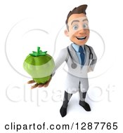 Clipart Of A 3d Young Brunette White Male Doctor Nutritionist Holding Up A Green Bell Pepper Royalty Free Illustration