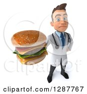 Clipart Of A 3d Unhappy Young Brunette White Male Doctor Nutritionist Holding Up A Double Cheeseburger Royalty Free Illustration