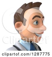 Clipart Of A 3d Avatar Of A Young Brunette White Male Doctor Facing Right Royalty Free Illustration