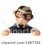 Clipart Of A 3D Bespectacled Short White Businessman Looking Down At A Sign Royalty Free Illustration