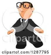 Clipart Of A Cartoon Bespectacled Short White Businessman Walking Royalty Free Illustration