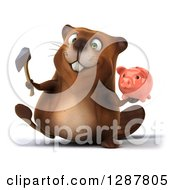 Clipart Of A 3d Beaver Walking With A Piggy Bank And Axe Royalty Free Illustration