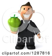 Clipart Of A 3D Short White Businessman Holding A Green Bell Pepper Royalty Free Illustration