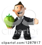 Clipart Of A 3D Welcoming Short White Businessman Holding A Green Bell Pepper Royalty Free Illustration