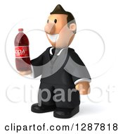 Clipart Of A 3D Short White Businessman Facing Left And Holding A Soda Bottle Royalty Free Illustration