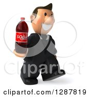 Clipart Of A 3D Short White Businessman Walking Right And Holding A Soda Bottle Royalty Free Illustration