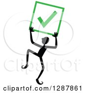 Clipart Of A Happy Black Stick Man Holding Up A Completed Or Right Check Mark Royalty Free Vector Illustration