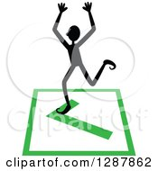 Clipart Of A Black Stick Man Cheering On A Completed Or Right Check Mark Royalty Free Vector Illustration
