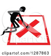 Clipart Of A Black Stick Man Kneeling On A No Wrong Or Declined X Mark Royalty Free Vector Illustration