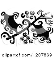 Clipart Of A Black And White Abstract Christmas Holly Design Royalty Free Vector Illustration