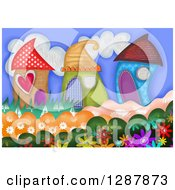 Clipart Of Cute Houses Made Of Patterns With Flowers Royalty Free Illustration by Prawny