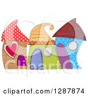 Clipart Of Cute Houses Made Of Patterns Over White Royalty Free Illustration