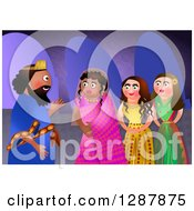 Clipart Of The Jewish Feast Of Purim Showing The King Seeking A New Queen Out Of Beautiful Girls Royalty Free Illustration