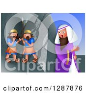Clipart Of A Jewish Feast Of Purim Scene Of Mordecai Overhearing The Plot To Assassinate The King Royalty Free Illustration