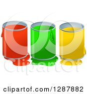 Poster, Art Print Of Red Green And Yellow Dripping Paint Pots And Spills Over White