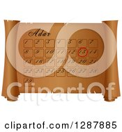 Clipart Of An Adar Calendar On A Parchment Scroll Royalty Free Illustration
