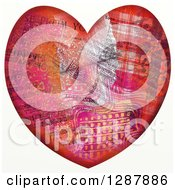 Clipart Of A Pattern Collaged Heart With Music Notes Royalty Free Illustration