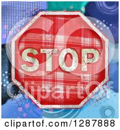 Plaid Stop Sign With A Collage Of Colors And Patterns