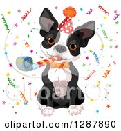 Cute Boston Terrier Wearing A Party Hat Blowing A Noise Maker And Celebrating In Confetti
