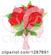 Clipart Of A Bouquet Of Six Red Roses In Pink Wrap Royalty Free Vector Illustration
