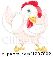 Clipart Of A Cute White Hen Presenting To The Left Royalty Free Vector Animal Illustration