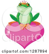 Clipart Of A Cute Frog Prince Resting On A Pink Valentine Love Heart Royalty Free Vector Animal Illustration