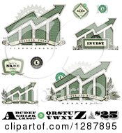 Clipart Of American Dollar Themed Bar Graphs Labels Numbers And Letters Royalty Free Vector Illustration